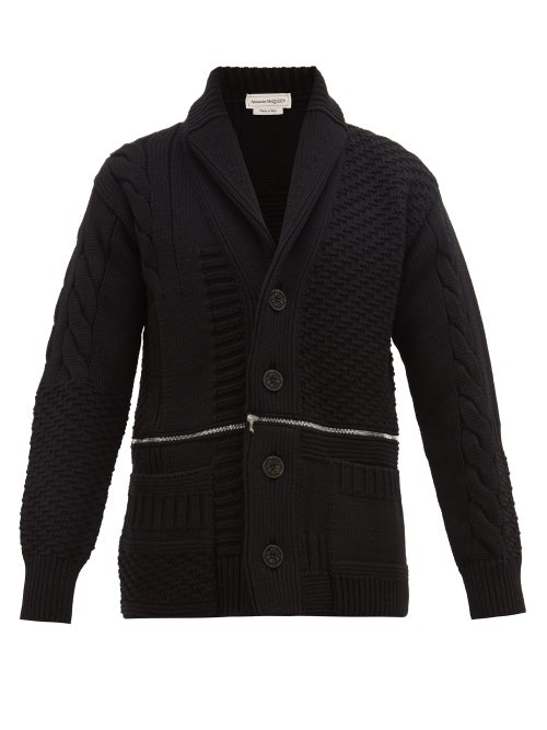 Alexander McQueen | Alexander Mcqueen - Double Zip Rib-knitted Wool Cardigan - Mens - Black Red | Clouty