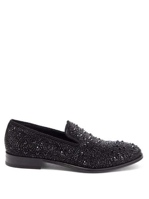 Alexander McQueen | Alexander Mcqueen - Crystal-embellished Leather Loafers - Mens - Black Multi | Clouty