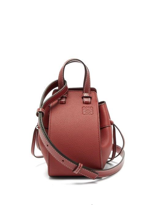 Loewe | Loewe - Hammock Mini Leather Cross-body Bag - Womens - Dark Red | Clouty