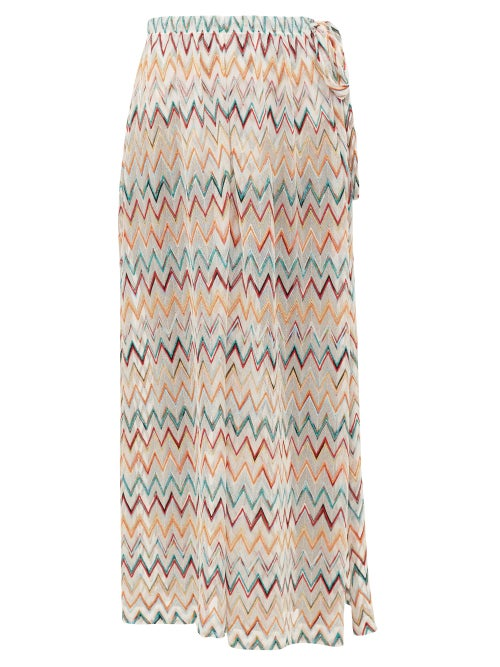 Missoni Mare | Missoni Mare - Side-slit Zigzag Knitted-mesh Trousers - Womens - White Multi | Clouty