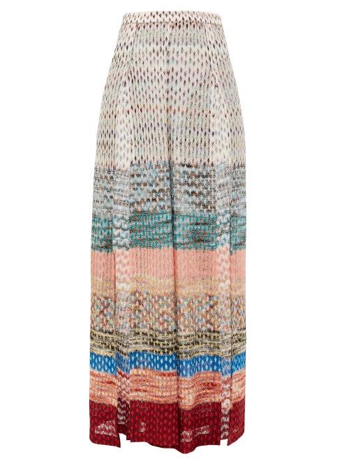 Missoni Mare | Missoni Mare - Side-slit Metallic Wide-leg Trousers - Womens - Multi | Clouty