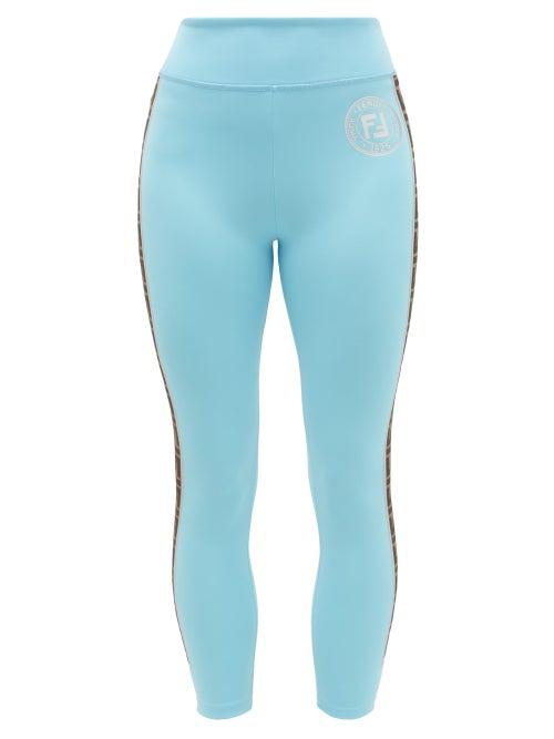 FENDI   Fendi - Ff-logo Stripe Athletic Leggings - Womens - Light Blue   Clouty