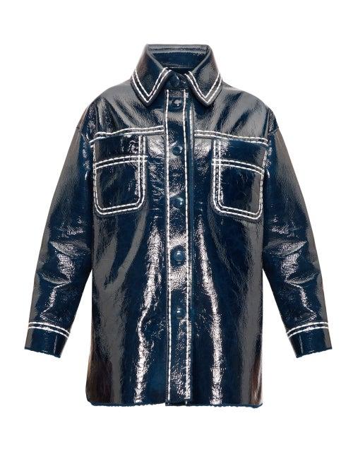 FENDI | Fendi - Contrast-stitching Patent-leather Coat - Womens - Blue Multi | Clouty