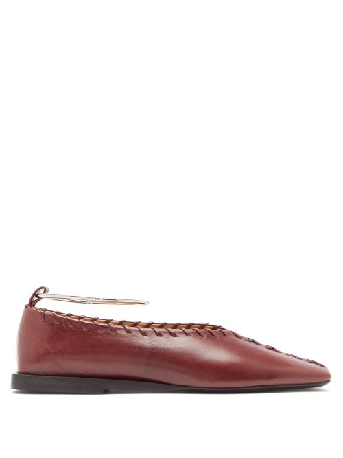 JIL SANDER | Jil Sander - Whipstitched Square-toe Leather Ballet Flats - Womens - Burgundy | Clouty