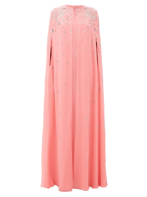 GIVENCHY | Givenchy - Embellished Silk-georgette Maxi-length Cape - Womens - Pink | Clouty