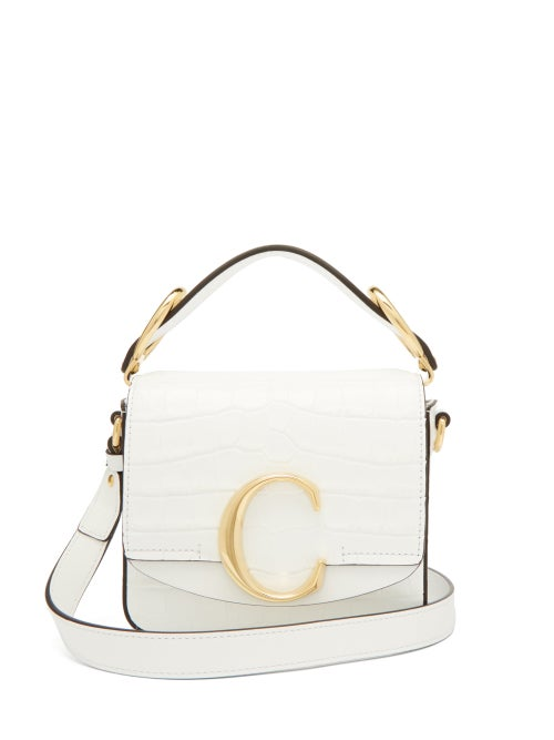 Chloé | Chloe - The C Mini Crocodile-effect Leather Cross-body Bag - Womens - White | Clouty