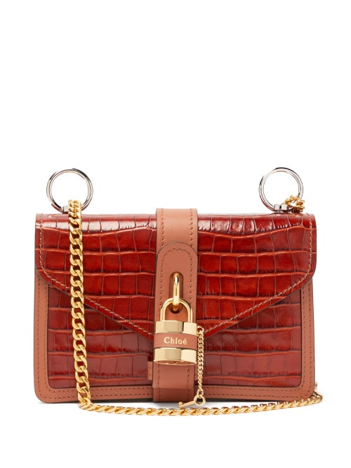 Chloé | Chloe - Aby Croc-embossed Leather Shoulder Bag - Womens - Brown | Clouty
