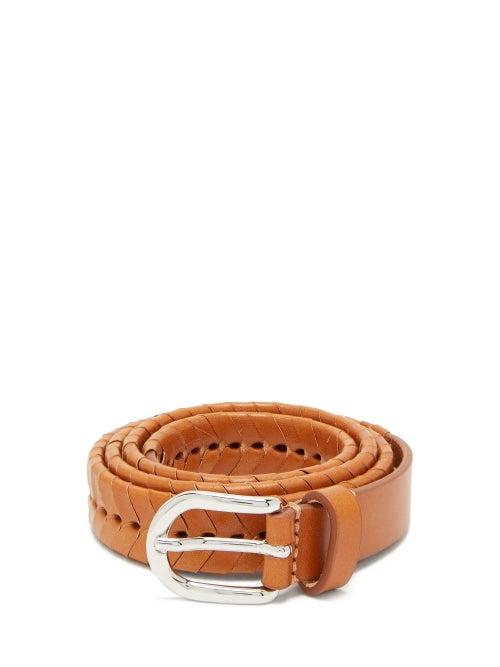 Isabel Marant | Isabel Marant - Pagoo Braided Leather Belt - Womens - Tan | Clouty