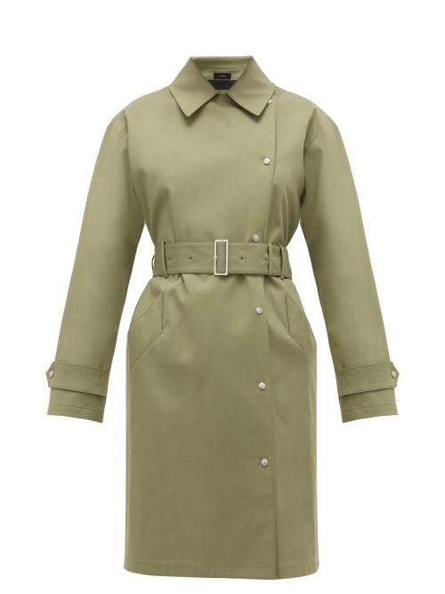 JOSEPH | Joseph - Conley Bonded Cotton-blend Trench Coat - Womens - Light Green | Clouty