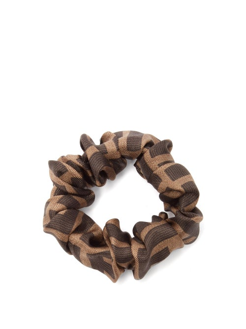 FENDI | Fendi - Set Of Two Logo-print Silk Hair Scrunchies - Womens - Multi | Clouty