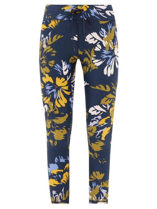 The Upside | The Upside - Kauai Floral-print Jersey Leggings - Womens - Navy Multi | Clouty