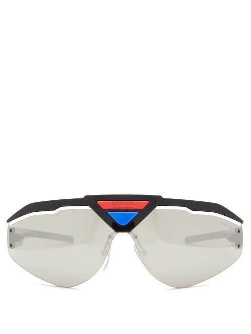 PRADA | Prada Eyewear - Logo Plaque Reflective Acetate Sunglasses - Mens - Black Multi | Clouty