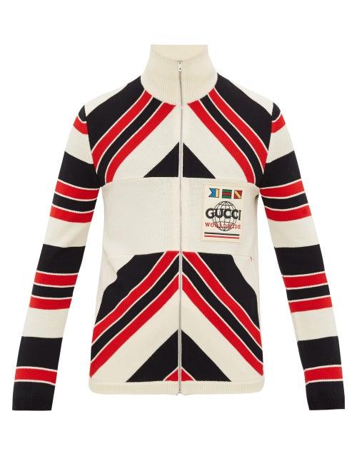 GUCCI | Gucci - Worldwide Logo-patch Striped Wool Cardigan - Mens - Black Red | Clouty