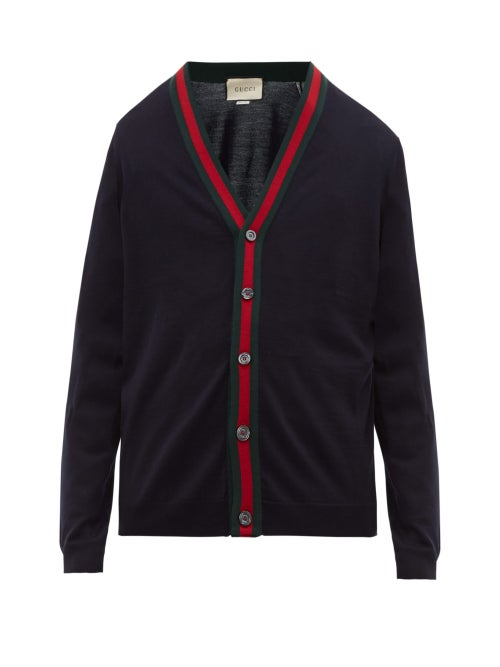 GUCCI | Gucci - Web Stripe Wool-knit Cardigan - Mens - Navy | Clouty