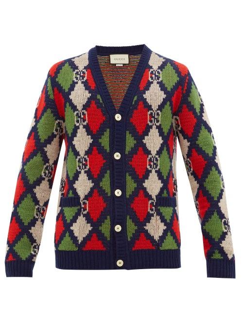 GUCCI | Gucci - GG-logo Argyle Wool Cardigan - Mens - Multi | Clouty