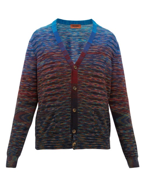 Missoni | Missoni - Striped Space-dyed Wool-blend Cardigan - Mens - Blue Multi | Clouty