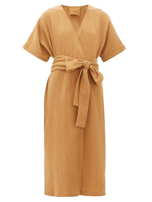 Loup Charmant   Loup Charmant - Kichi Cotton-seersucker Wrap Dress - Womens - Tan   Clouty