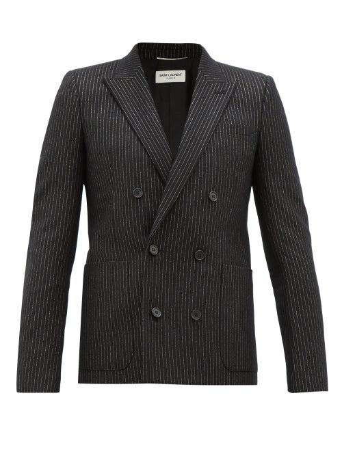 SAINT LAURENT | Saint Laurent - Pinstriped Double-breasted Wool-blend Blazer - Mens - Black Gold | Clouty