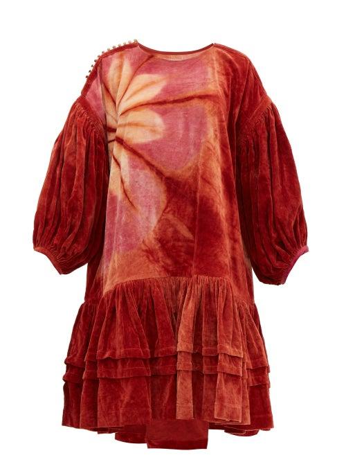 Story mfg | Story Mfg - Verity Tie-dye Organic Cotton-corduroy Dress - Womens - Burgundy Multi | Clouty