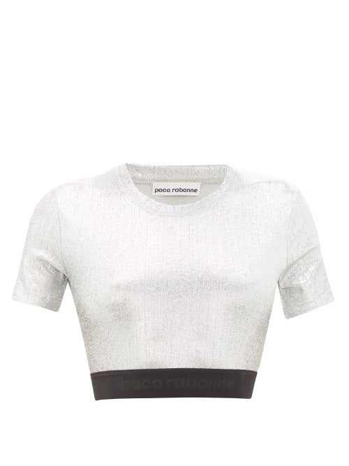 Paco Rabanne | Paco Rabanne - Logo-hem Lame Cropped Top - Womens - Silver | Clouty