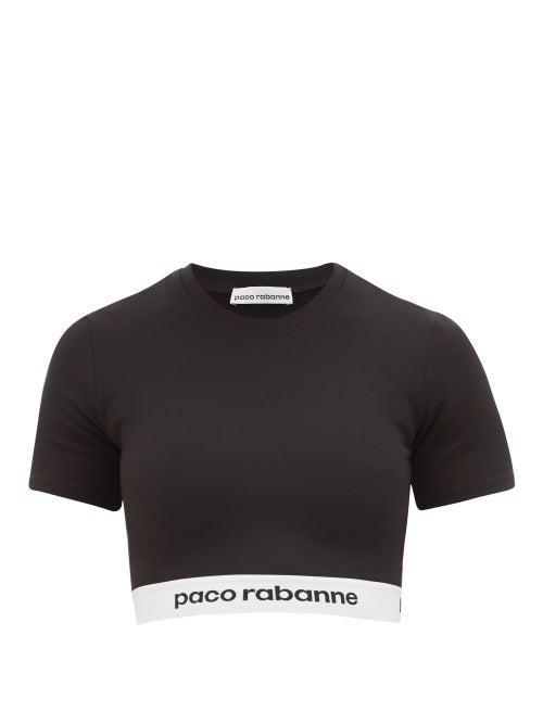 Paco Rabanne   Paco Rabanne - Logo-hem Jersey Cropped Top - Womens - Black   Clouty