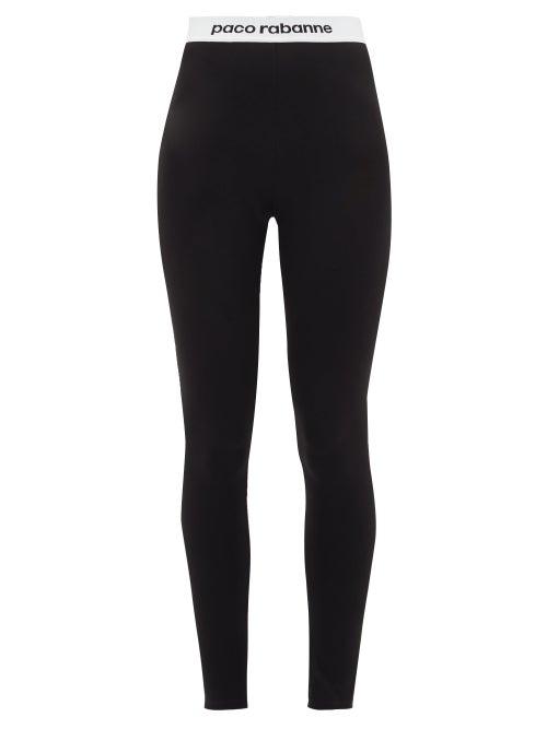 Paco Rabanne | Paco Rabanne - Logo-hem Jersey Stirrup Leggings - Womens - Black | Clouty