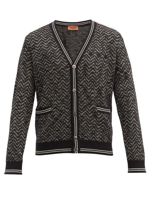 Missoni | Missoni - Zigzag-jacquard Cashmere-blend Cardigan - Mens - Black | Clouty