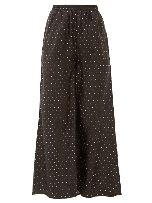 Mes Demoiselles | Mes Demoiselles - Biga Polka-dot Silk-satin Wide-leg Trousers - Womens - Black Print | Clouty