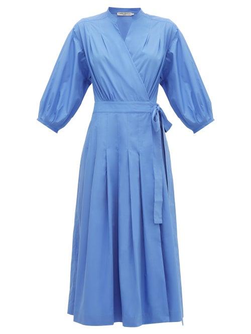 Three Graces London | Three Graces London - Delmare Cotton-poplin Wrap Dress - Womens - Blue | Clouty