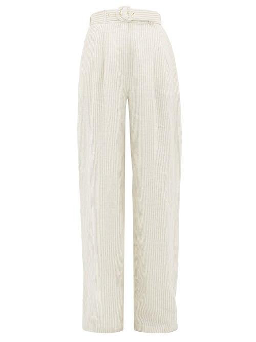 Zimmermann | Zimmermann - Super Eight Belted Striped-linen Wide-leg Trousers - Womens - Beige | Clouty