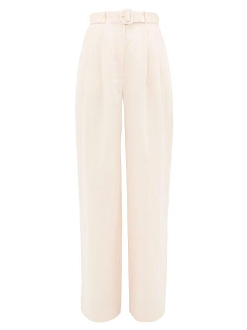 Zimmermann | Zimmermann - High-rise Linen Wide-leg Trousers - Womens - Light Pink | Clouty