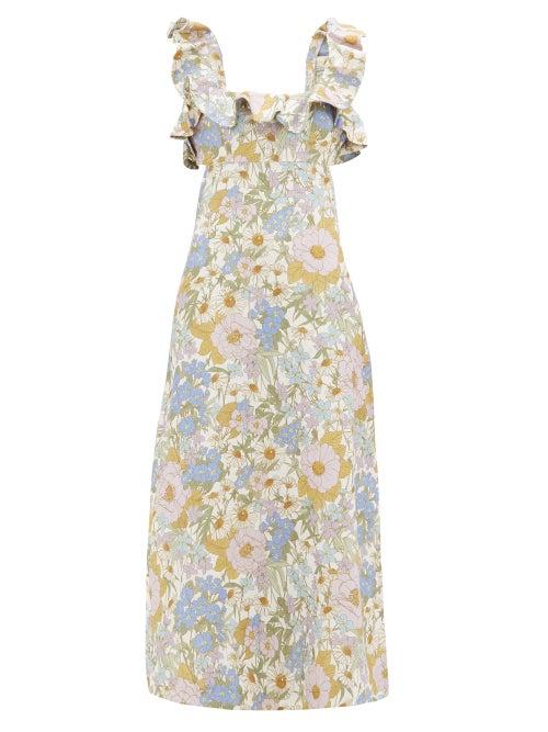Zimmermann | Zimmermann - Super Eight Floral-print Linen Midi Dress - Womens - Blue Print | Clouty