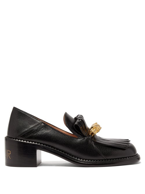 GUCCI | Gucci - Dora Leather Heeled Loafers - Womens - Black | Clouty
