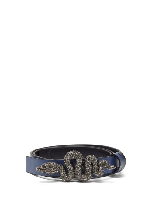 Valentino Garavani | Valentino Garavani - Crystal-embellished Snake-buckle Leather Belt - Womens - Navy | Clouty