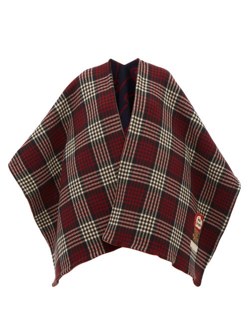 GUCCI   Gucci - Reversible Check And Gg-jacquard Wool Poncho - Womens - Red Multi   Clouty