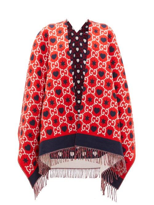 GUCCI   Gucci - Reversible Gg-jacquard Wool Cape - Womens - Red Multi   Clouty