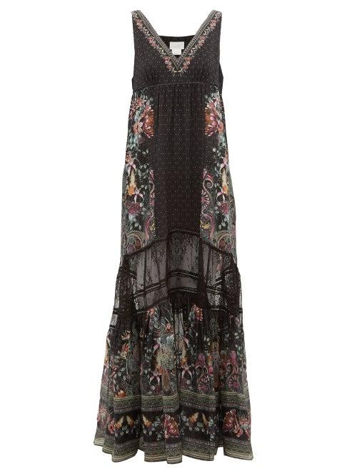 Camilla | Camilla - Restless Nights Lace-paneled Silk Maxi Dress - Womens - Black Multi | Clouty