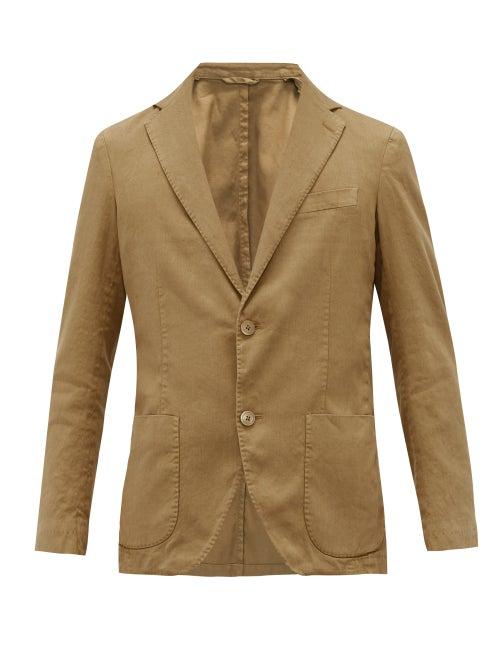 Altea | Altea - Single-breasted Linen-blend Serge Blazer - Mens - Brown | Clouty
