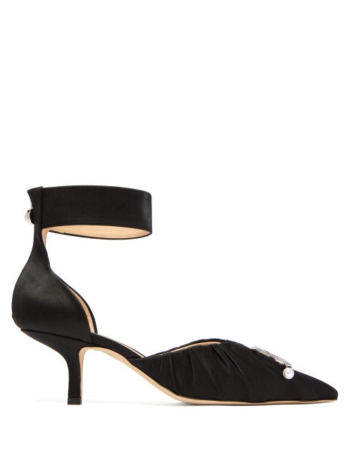Midnight 00 | Midnight 00 - Crescent-moon Ruched Satin Pumps - Womens - Black | Clouty