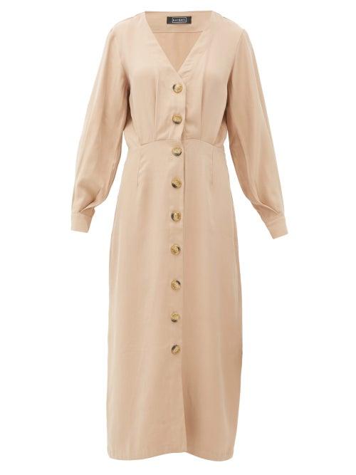 Haight | Haight - Camila Pleated Midi Dress - Womens - Tan | Clouty