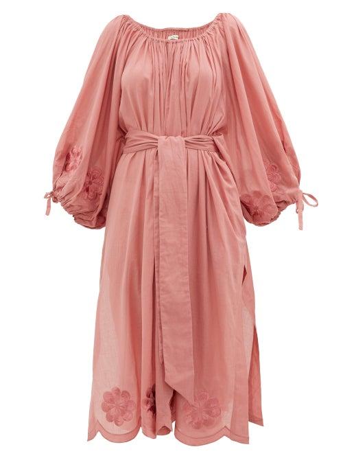 Innika Choo | Innika Choo - Frida Wailes Embroidered Cotton Dress - Womens - Dark Pink | Clouty