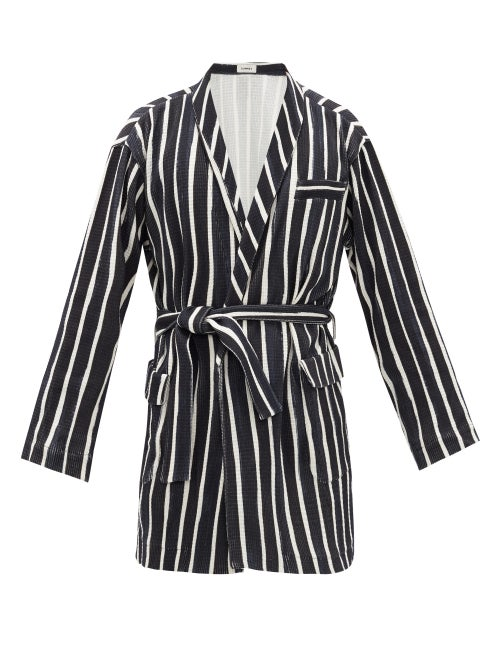 Commas | Commas - Belted Striped Cotton Robe - Mens - Black White | Clouty