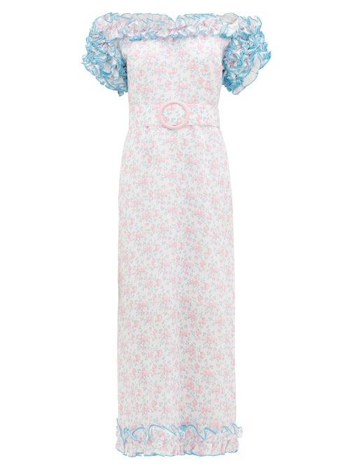 Gul Hurgel | Gul Hurgel - Ruffled Off-shoulder Floral-print Linen Dress - Womens - Pink Multi | Clouty