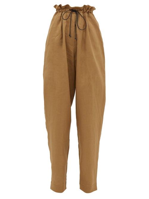 Albus Lumen | Albus Lumen - Agaso Drawstring-waist Linen Trousers - Womens - Camel | Clouty