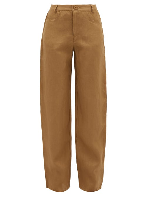 Albus Lumen | Albus Lumen - Raw-edge Linen Trousers - Womens - Camel | Clouty