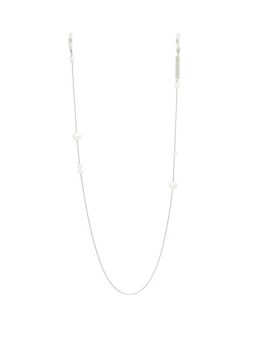 Frame Chain | Frame Chain - Drop Pearl White Gold-plated Glasses Chain - Womens - | Clouty