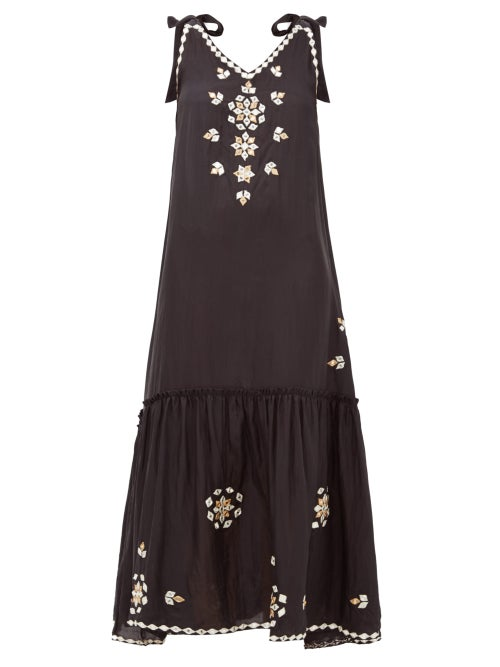 Juliet Dunn | Juliet Dunn - Mirror-embellished Silk Dress - Womens - Black | Clouty