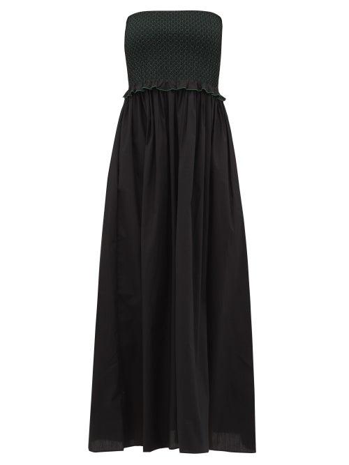 Loretta Caponi | Loretta Caponi - Luisa Bandeau Smocked Cotton Dress - Womens - Black Green | Clouty