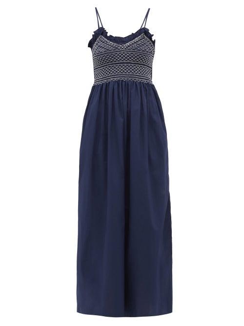 Loretta Caponi | Loretta Caponi - Bianca Shirred-bodice Embroidered Cotton Dress - Womens - Navy White | Clouty