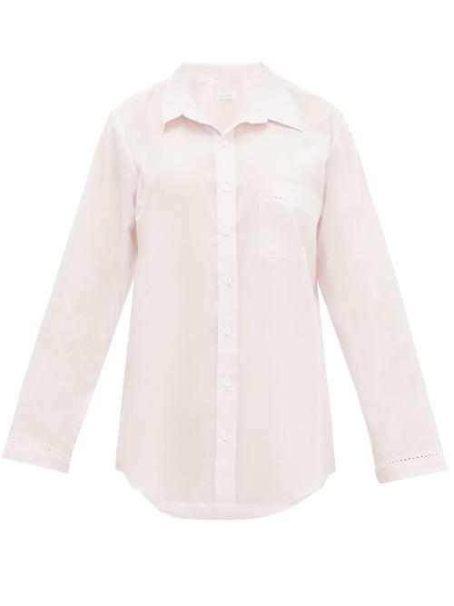 Pour Les Femmes | Pour Les Femmes - Crochet-insert Cotton-voile Nightshirt - Womens - Pink | Clouty